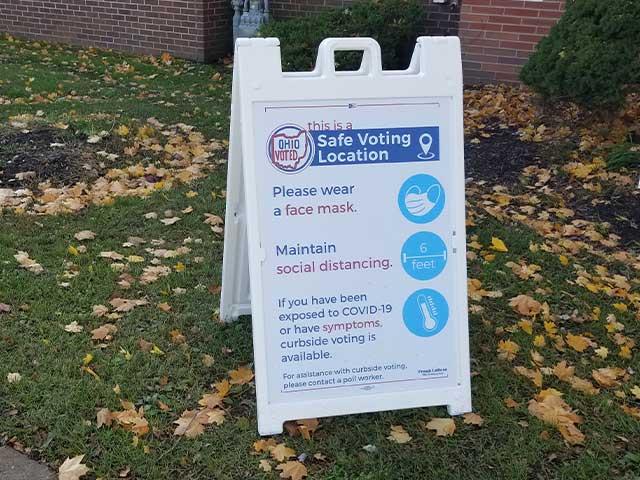 State of Ohio COVID-19 voting location signage